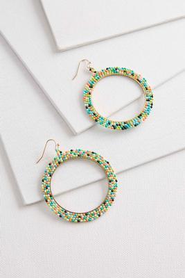 layered seed bead circle earrings