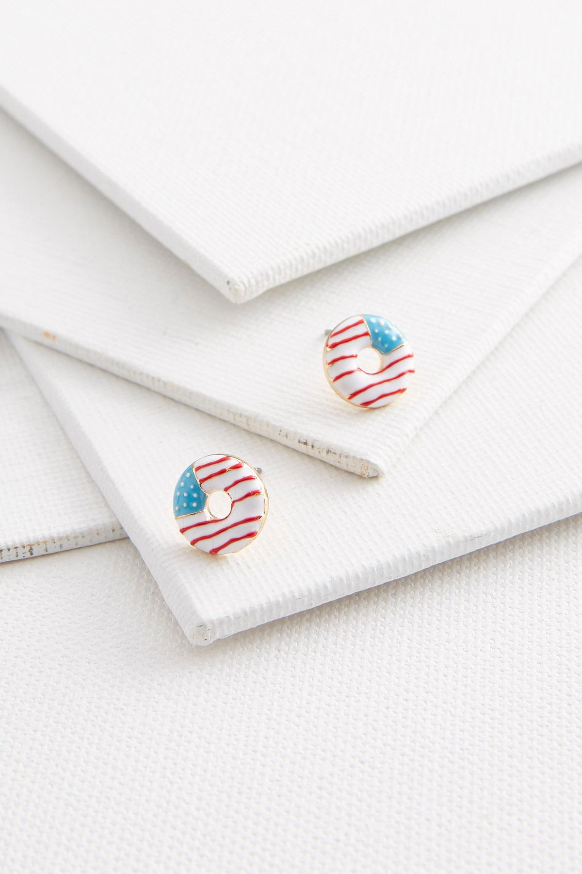 Flag Donut Shaped Earrings