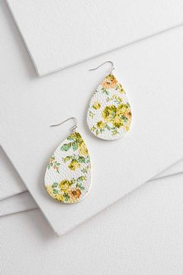 floral solid tear shaped earrings