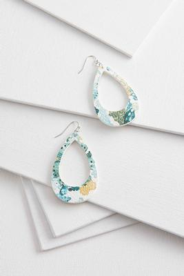 floral open tear shaped earrings