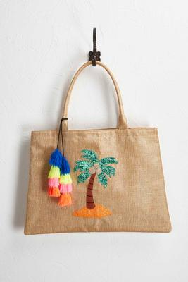 summer fun embellished jute bag