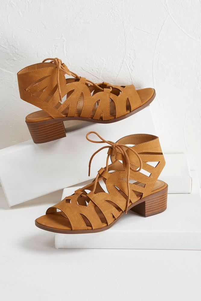 Lace Up Low Block Heel Shooties