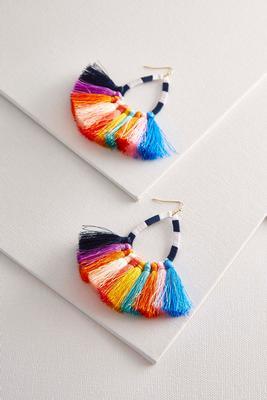 rainbow tassel dangle earrings