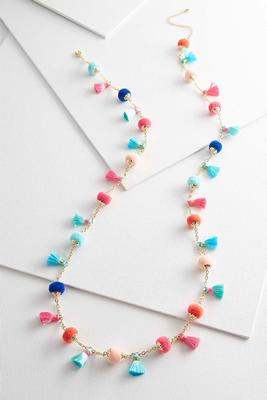 long pom-pom and tassel necklace