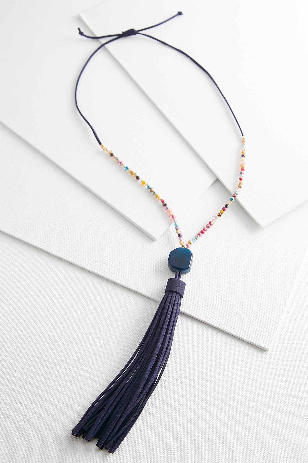 Navy Faux Suede Tassel Necklace