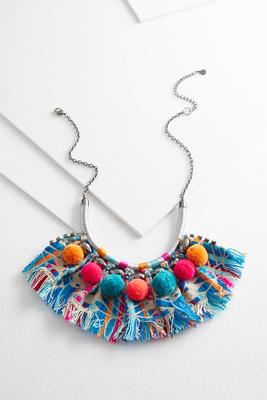 embellished neon fabric necklace