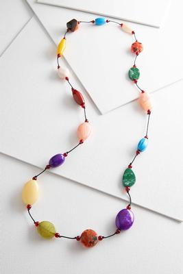 multicolored resin stone necklace