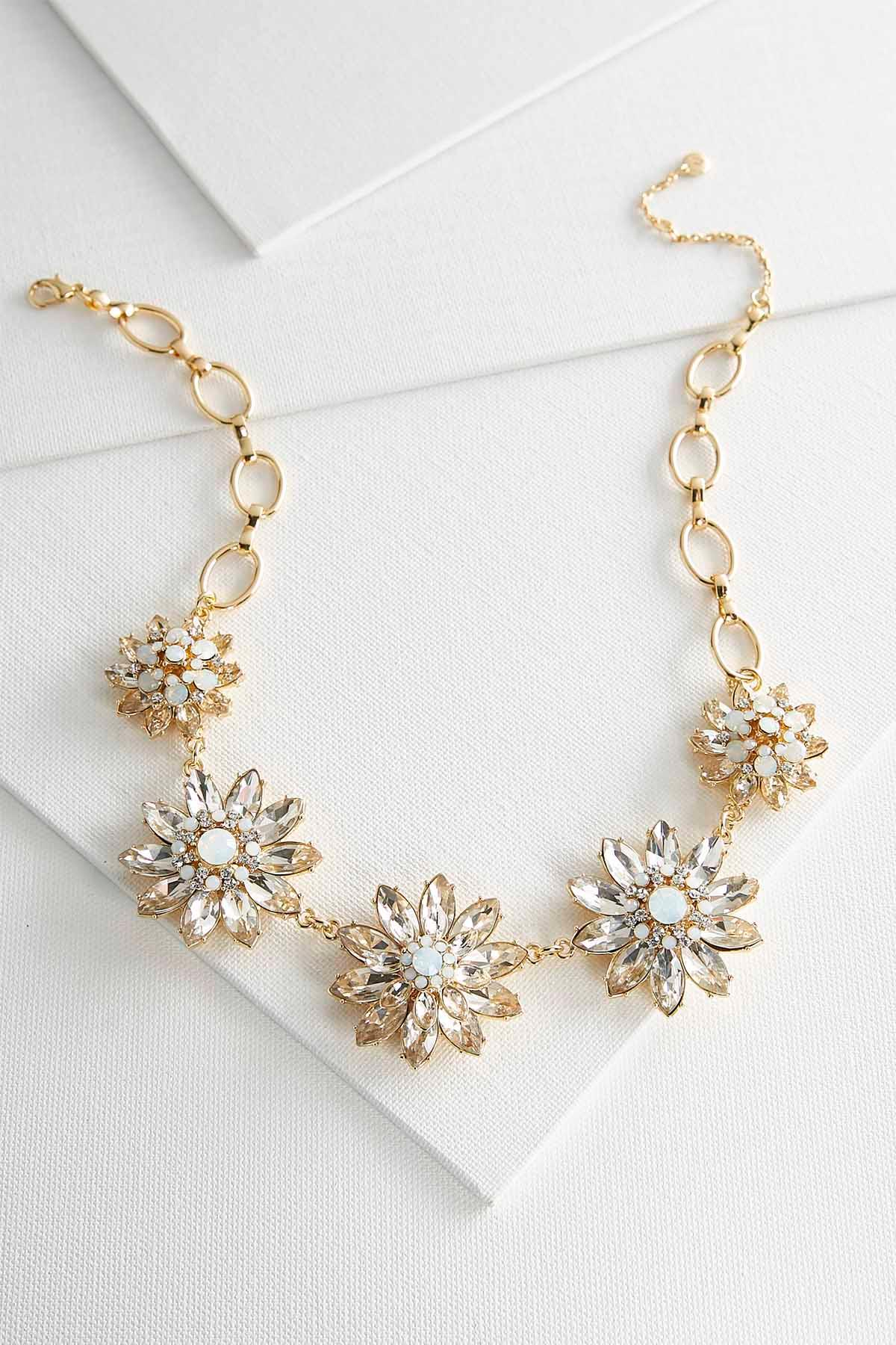 Floral Glass Stone Bib Necklace