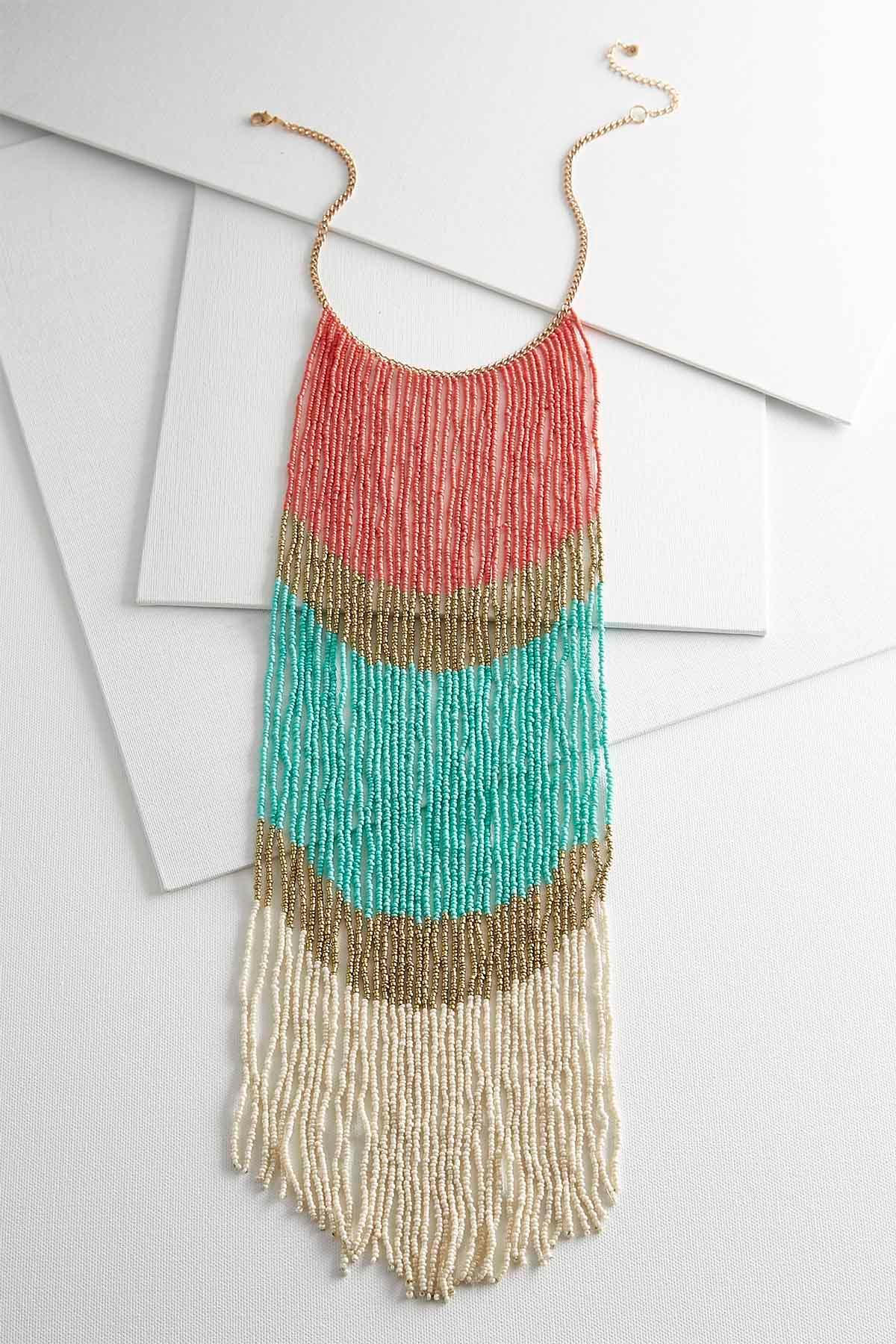 Long Colorblock Fringe Necklace