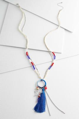 patriotic cluster tassel necklace