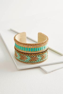 turquoise embellished chevron cuff