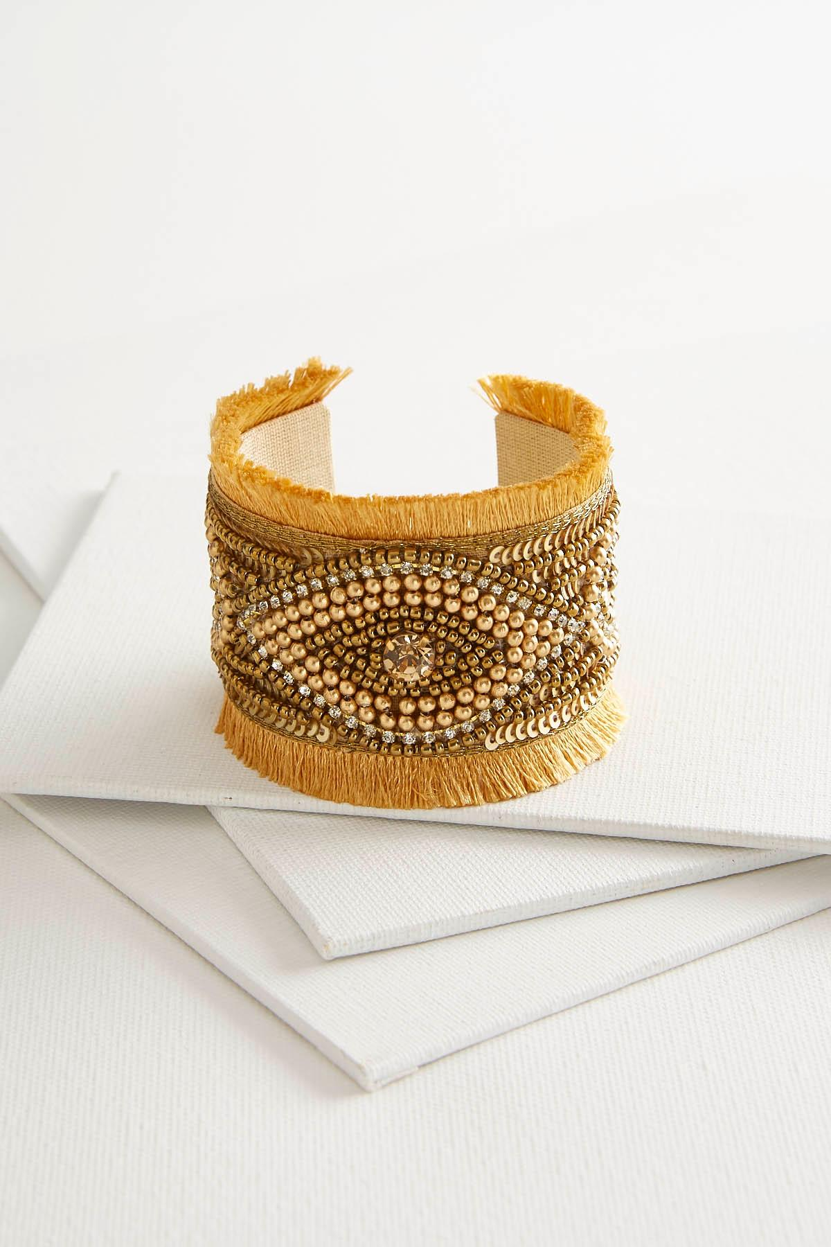 Golden Taupe Fringed Seed Bead Cuff