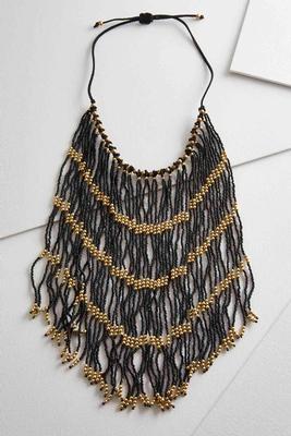 long beaded fringe necklace