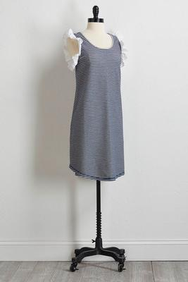ruffled stripe french terry dress s