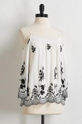 embroidered bare shoulder top