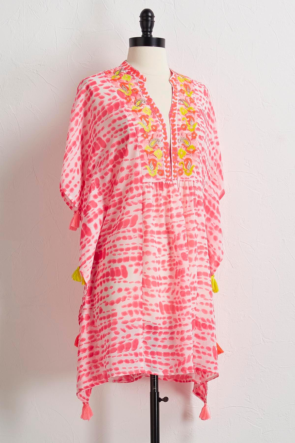 Embroidered Tie Dye Cover- Up