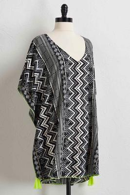 tasseled chevron metallic cover-up