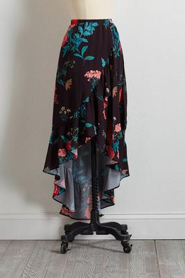 floral faux wrap midi skirt