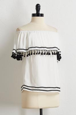 ivory embellished off the shoulder top