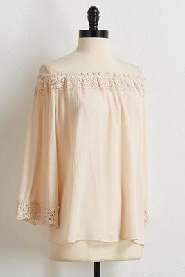 natural gauze off the shoulder top