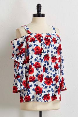 patriotic floral bare shoulder top