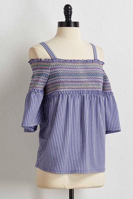 multicolored smocked bare shoulder top