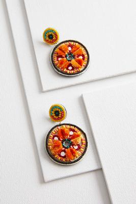 beaded sunburst patch earrings