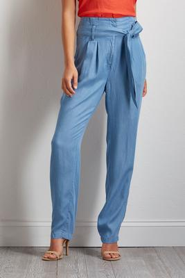chambray tie waist pants