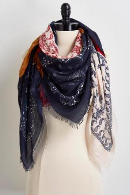 paisley patchwork oblong scarf