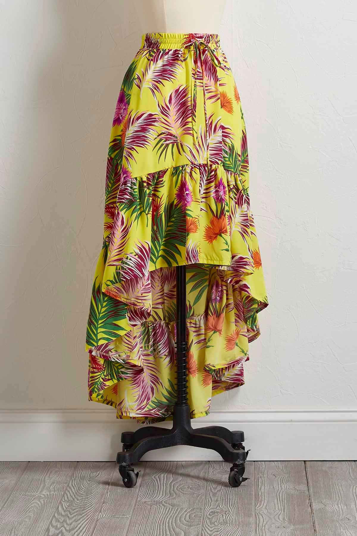 Multicolor Palm High- Low Skirt