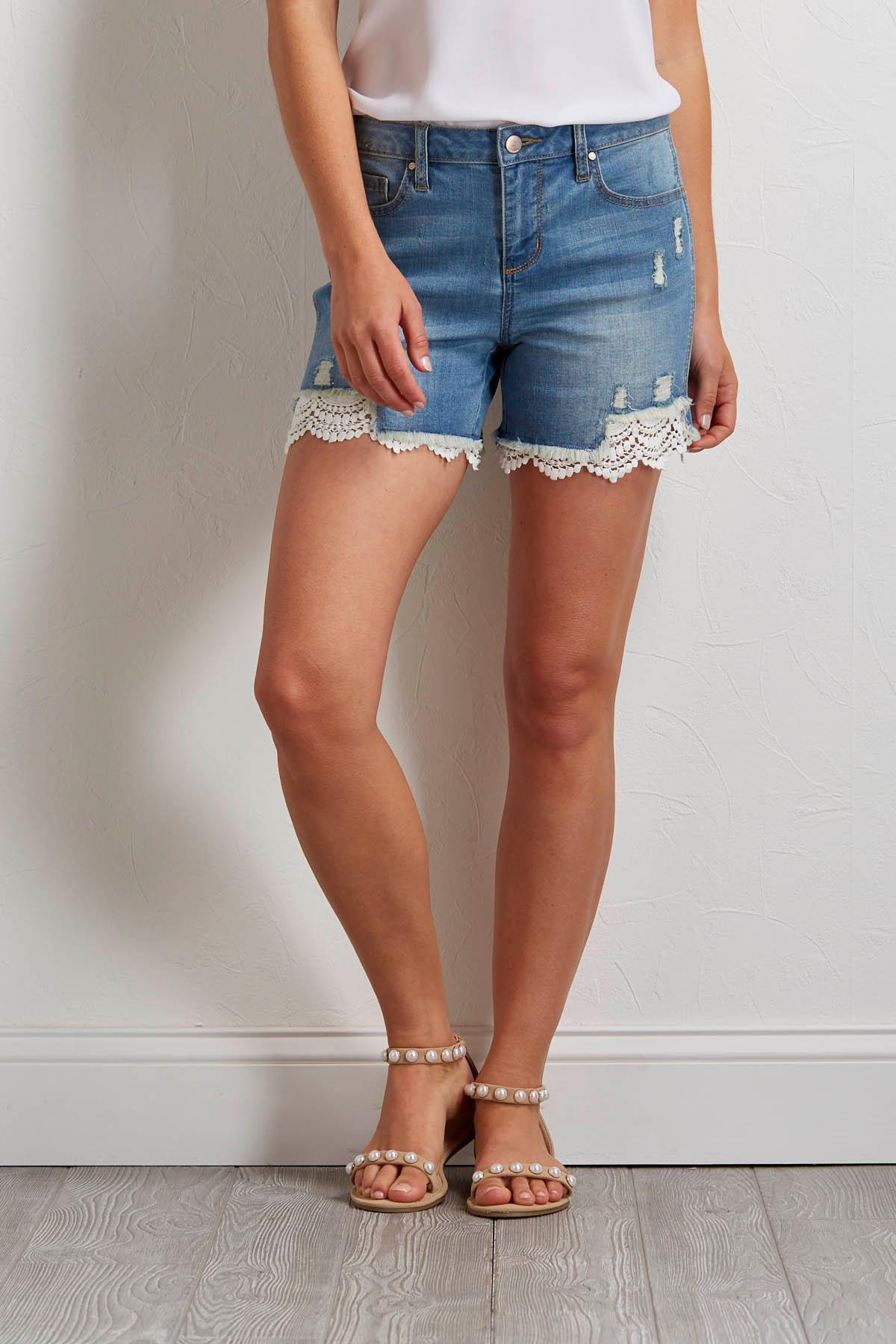 Distressed Lace Denim Shorts