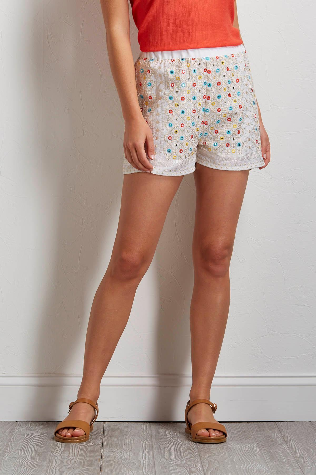 Embroidered Sequin Shorts