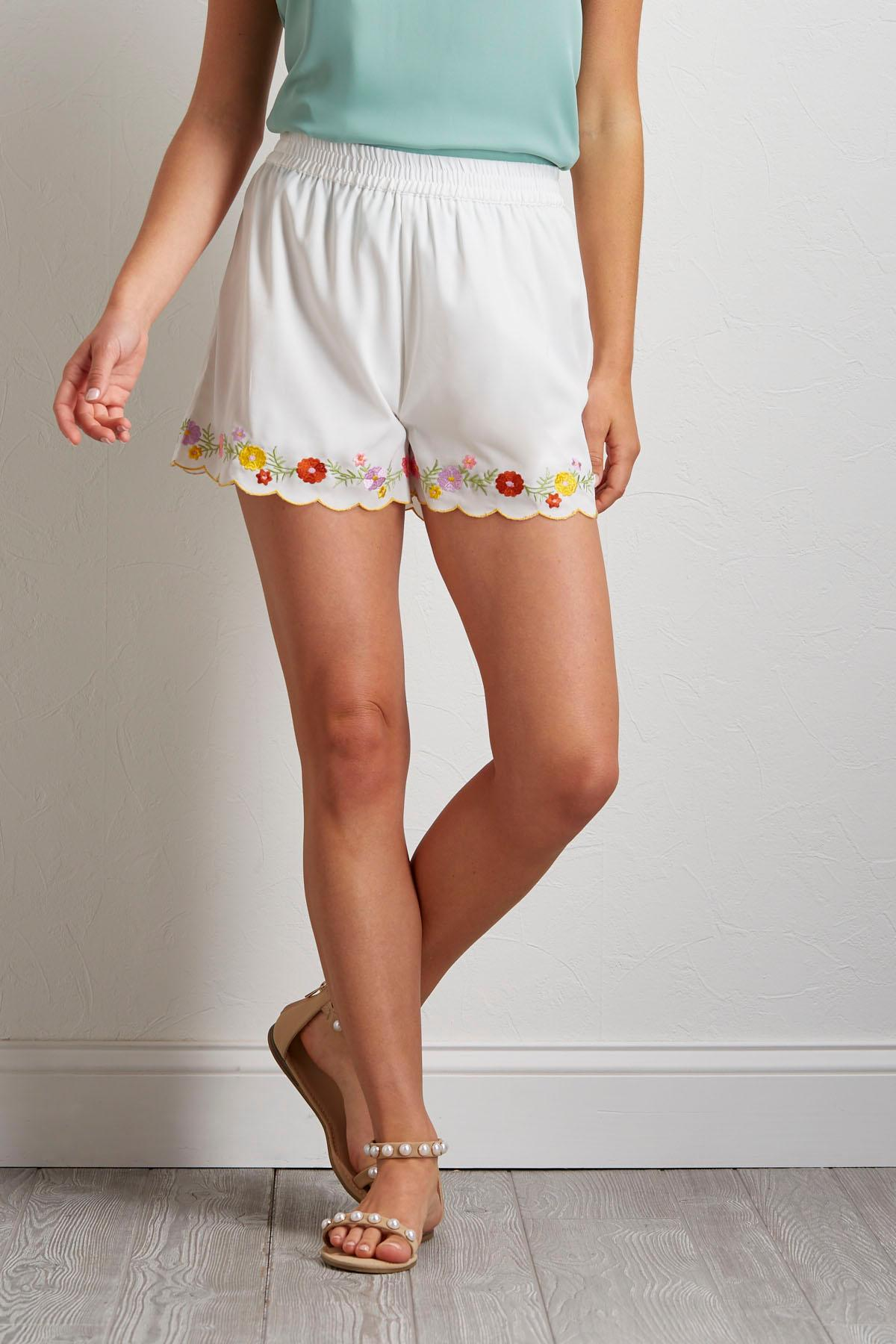 Scalloped Floral Embroidered Shorts