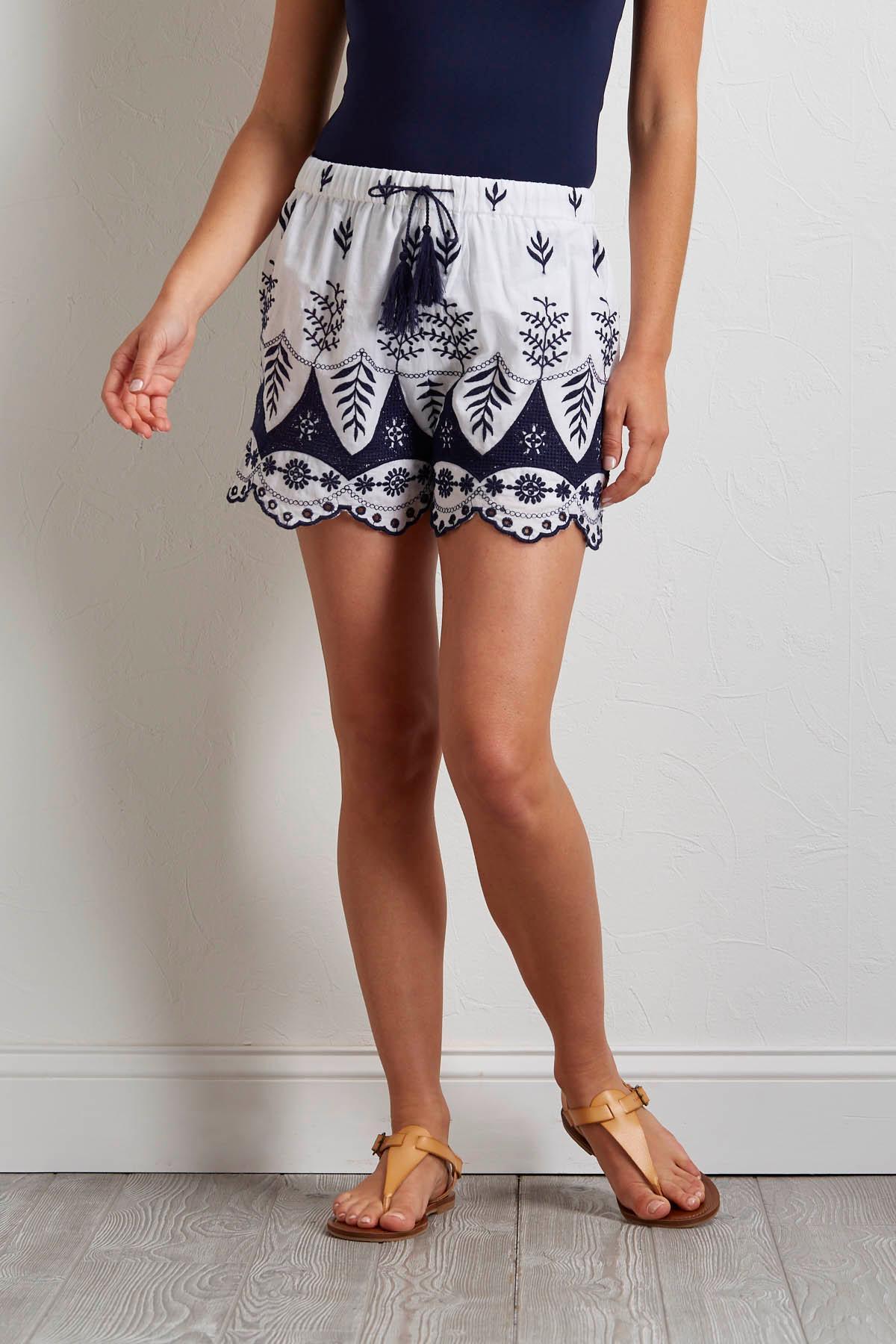 Embroidered Tassel Tie Shorts