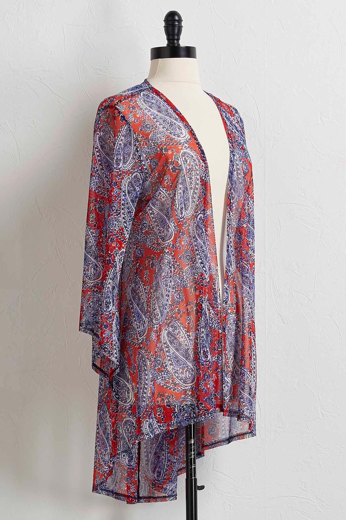 Paisley Mesh Kimono