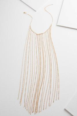 dainty chain fringe statement necklace