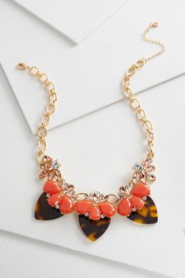 tortoise shell bib necklace