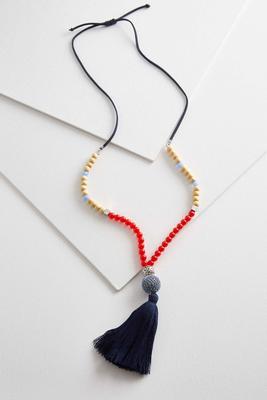 mixed bead tassel necklace