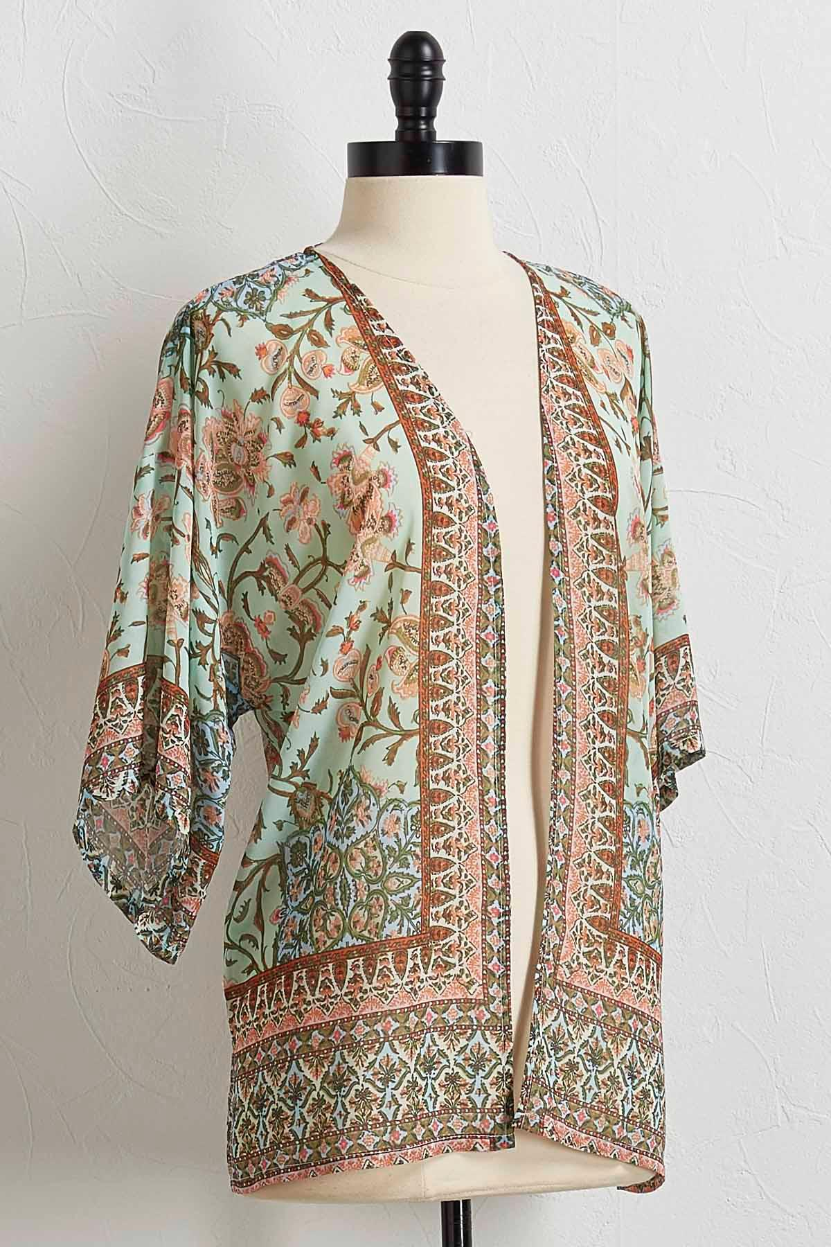 Floral Border Print Kimono