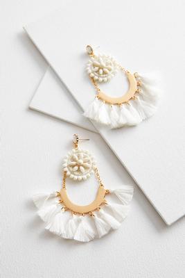 dangling half moon tassel earrings