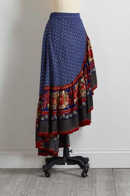 ruffled gypsy floral maxi skirt