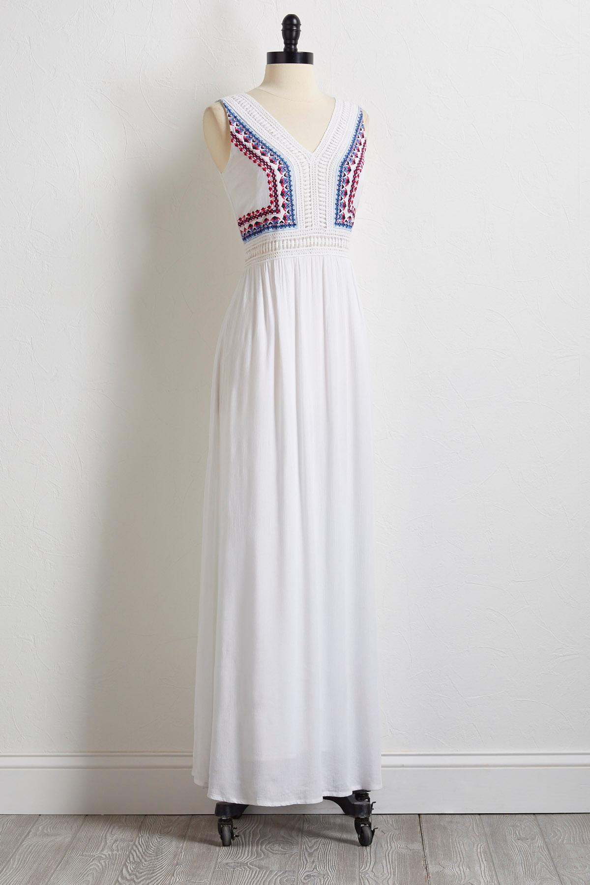 Gauze Embroidered Crochet Dress