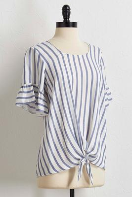 blue stripe tie front top