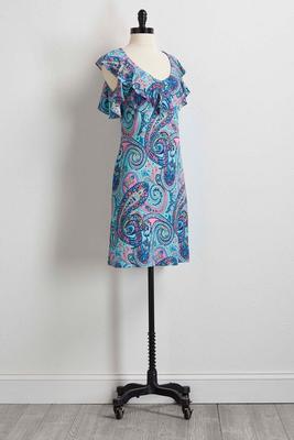 paisley bare shoulder shift dress