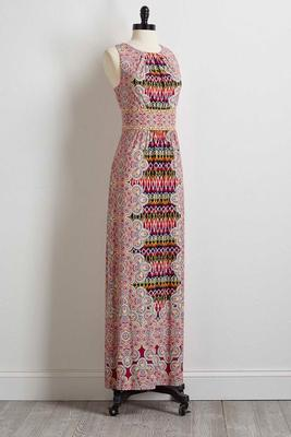 mixed kaleidoscope maxi dress