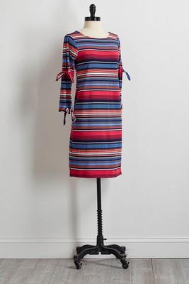 multicolor stripe slit sleeve dress