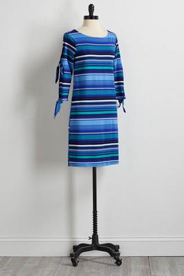 striped slit sleeve dress