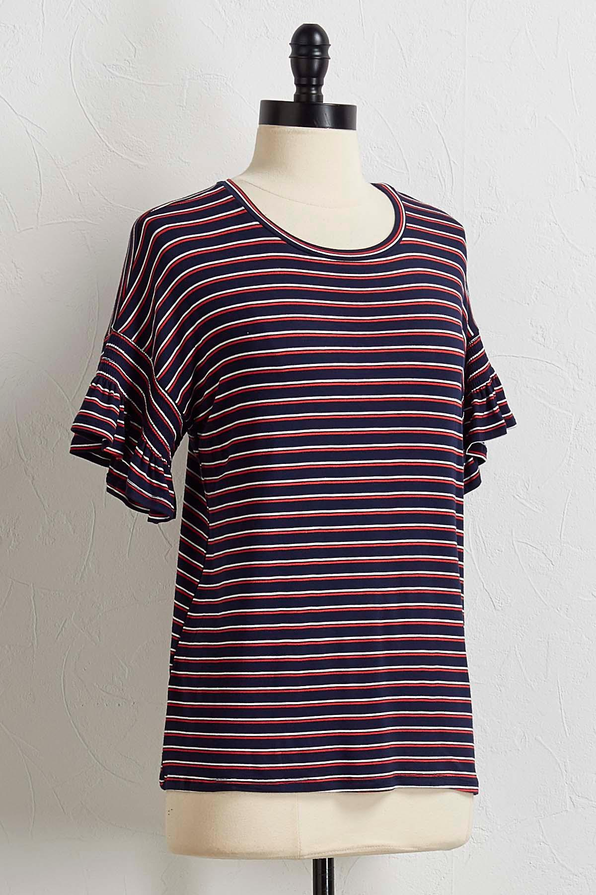Striped Flutter Sleeve Tee