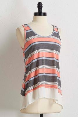 striped mix media high-low tank