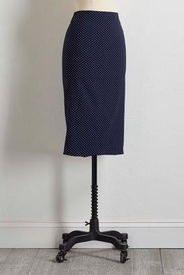 polka dot compression pencil skirt